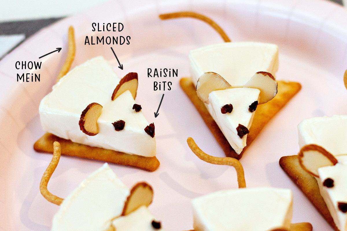 Easy Cheese & Cracker Mice (Kitty Cat Party)