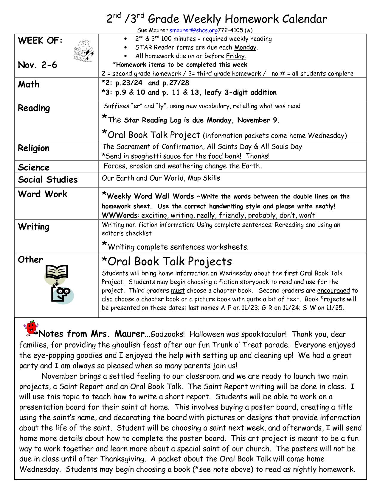 reading homework template | Grade Weekly Homework Calendar The Star ...
