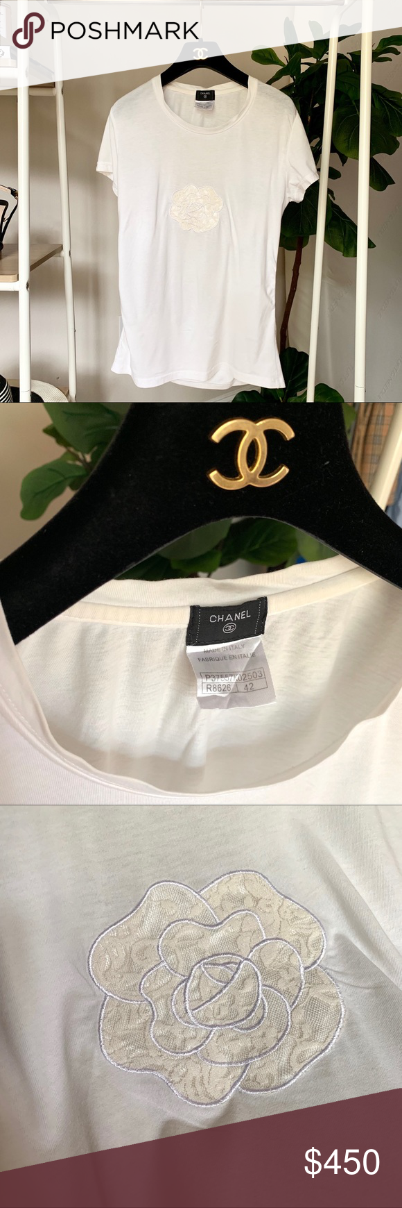 ⚡️WKND SALE⚡️CHANEL Lace Camellia Logo White Tee (With