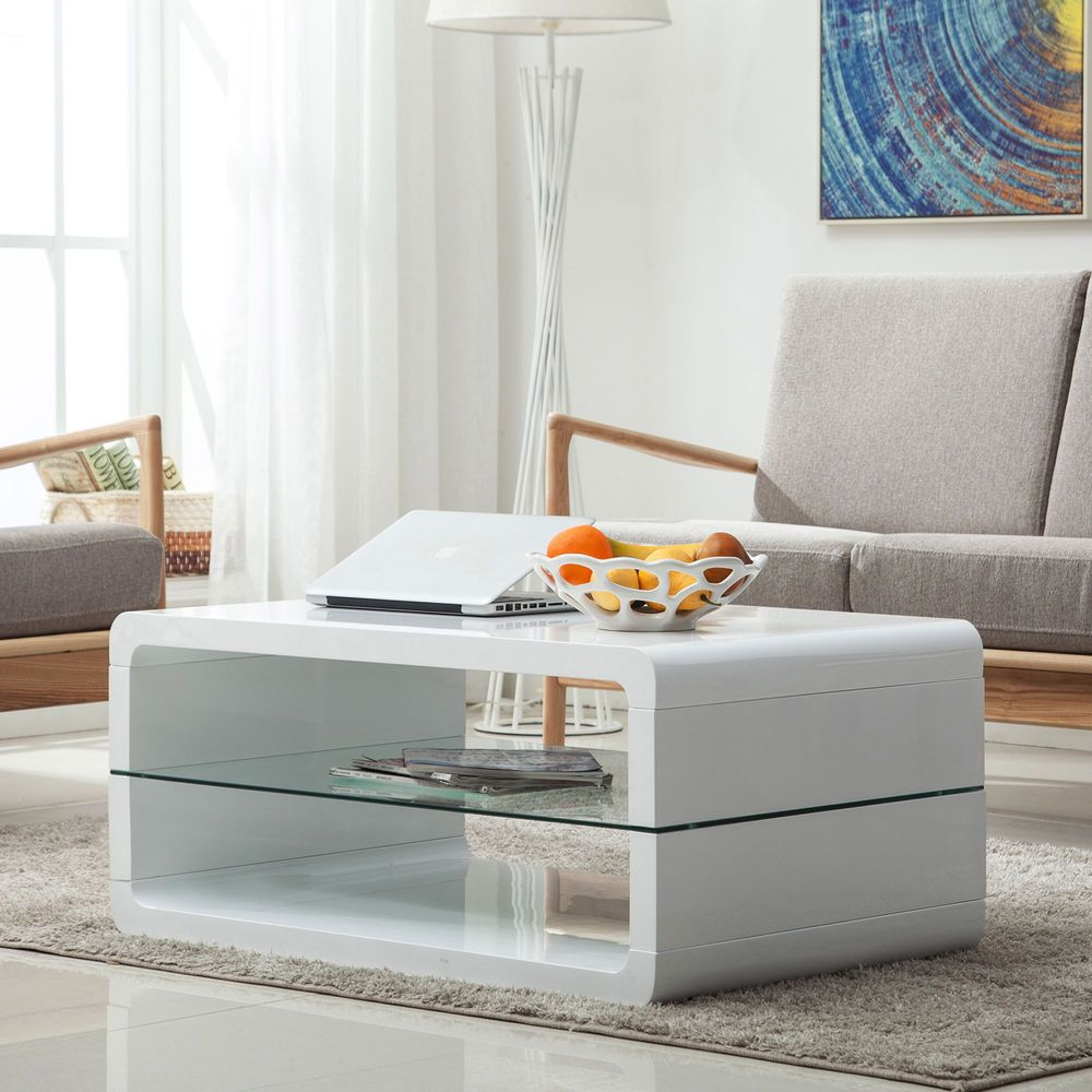 2 Shelves Modern High Gloss White Coffee Table Storage Space Living Room Desk White Modern Coffee Table Living Room Storage Desk In Living Room [ jpg ]