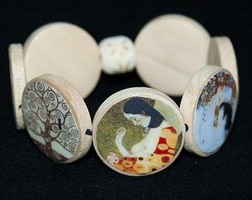 0790a25ffcbf Pulsera elástica de madera Cuadros de Klimt-VENDIDA | Pretties ...