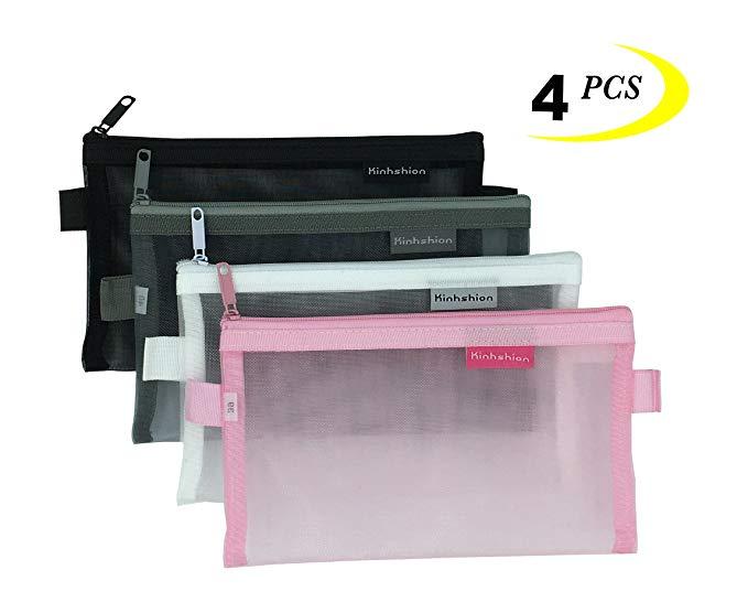 Zipper Pouch 4 PCS Mesh Bags Clear Zipper Pouch Small