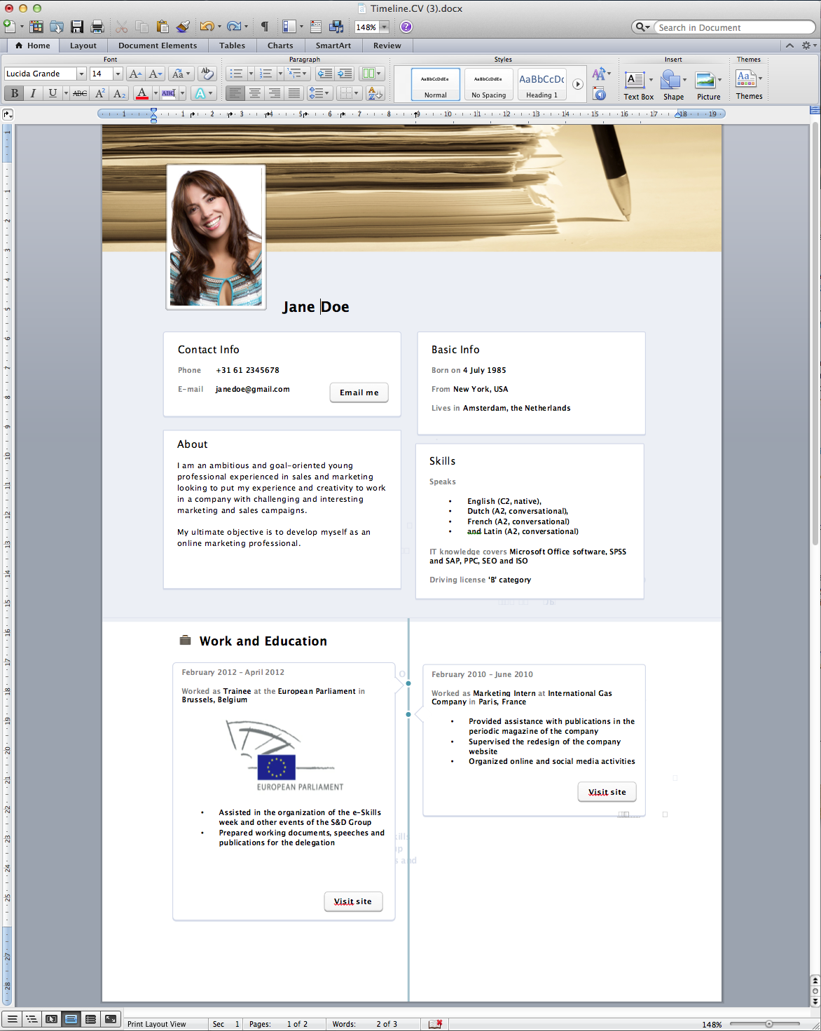 Word 2013 Resume Template Curriculum Vitae Template Word  Httpwwwresumecareer
