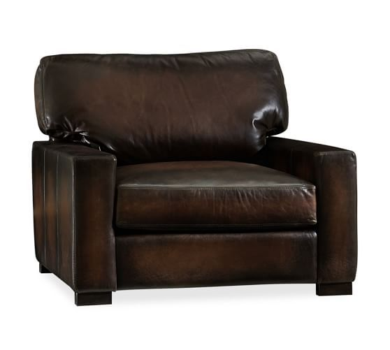Turner Leather Square Arm Armchair Pottery Barn Leather Armchair Armchair Dining Chairs For Sale