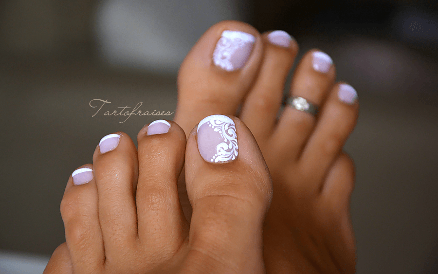 Nail Art Pied French Pedicur Zehennagel Manicura