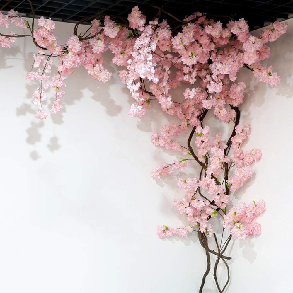 Homcomoda 2 Pack Artificial Silk Cherry Blossom Hanging Vine Garland For W Flower Wall Backdrop Flower Backdrop Wedding