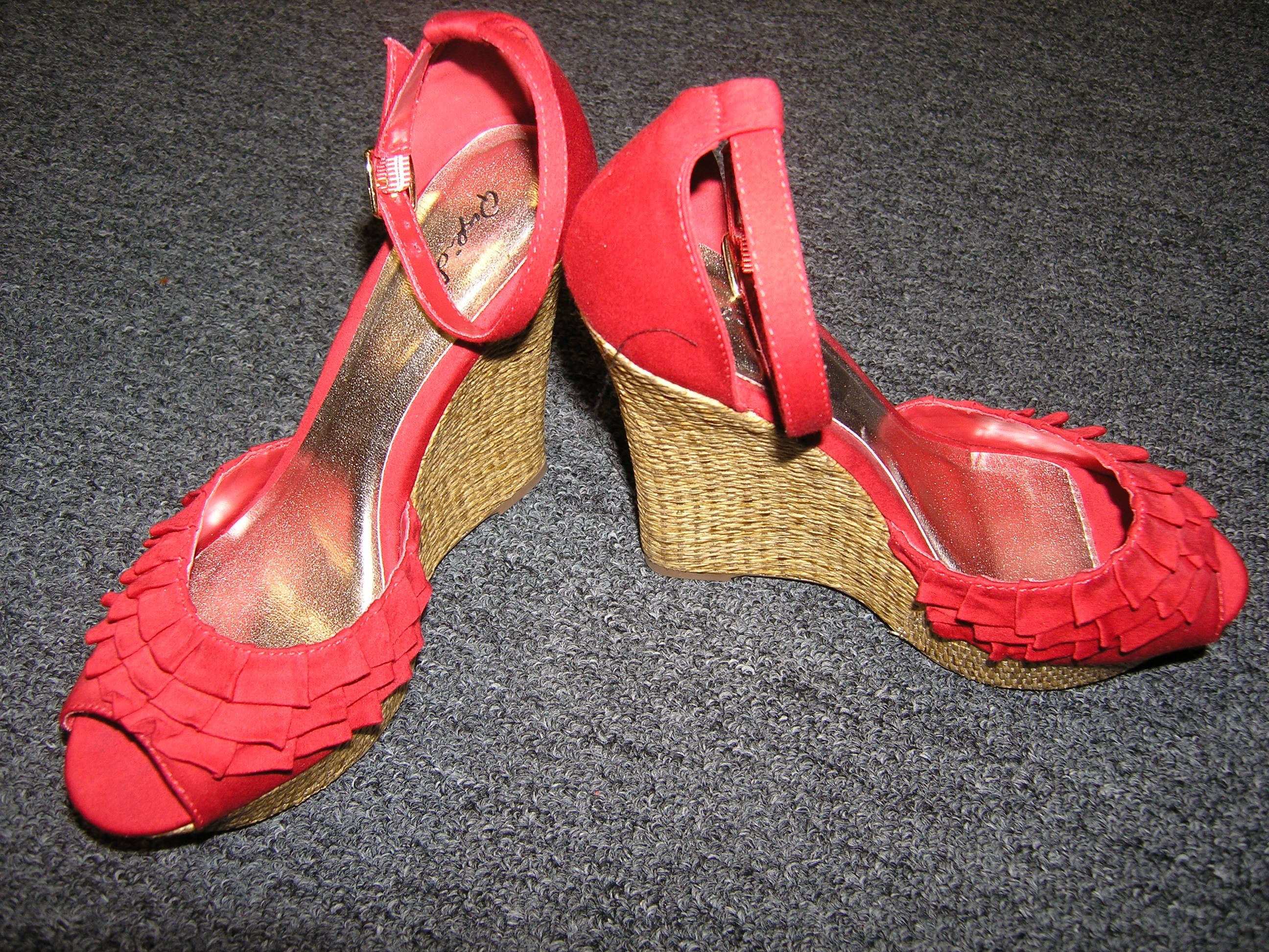 Red Ruffle Wedges w/ open toe- $49.99 by QUPID Size 8