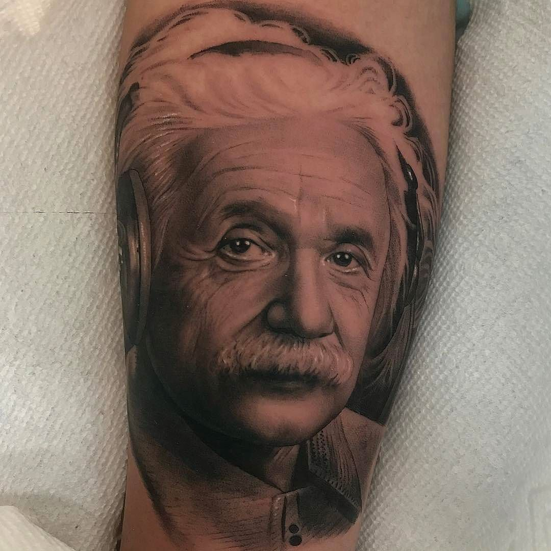 Einstein With Headphones Tattoo Done By Jamiemahood Www Otziapp