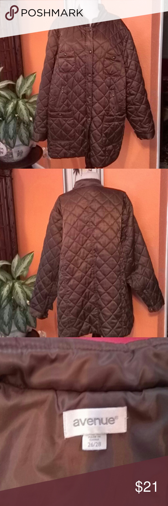 Jacket Avenue Jacket Avenue, shell, 100%polyester, lining, 100%polyester, filler, 100%polyester, color brown Avenue Jackets & Coats Jean Jackets