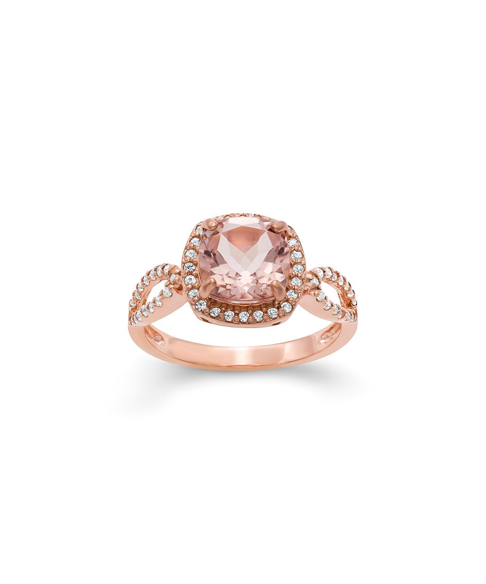 Morganite & Rose Gold Halo Ring