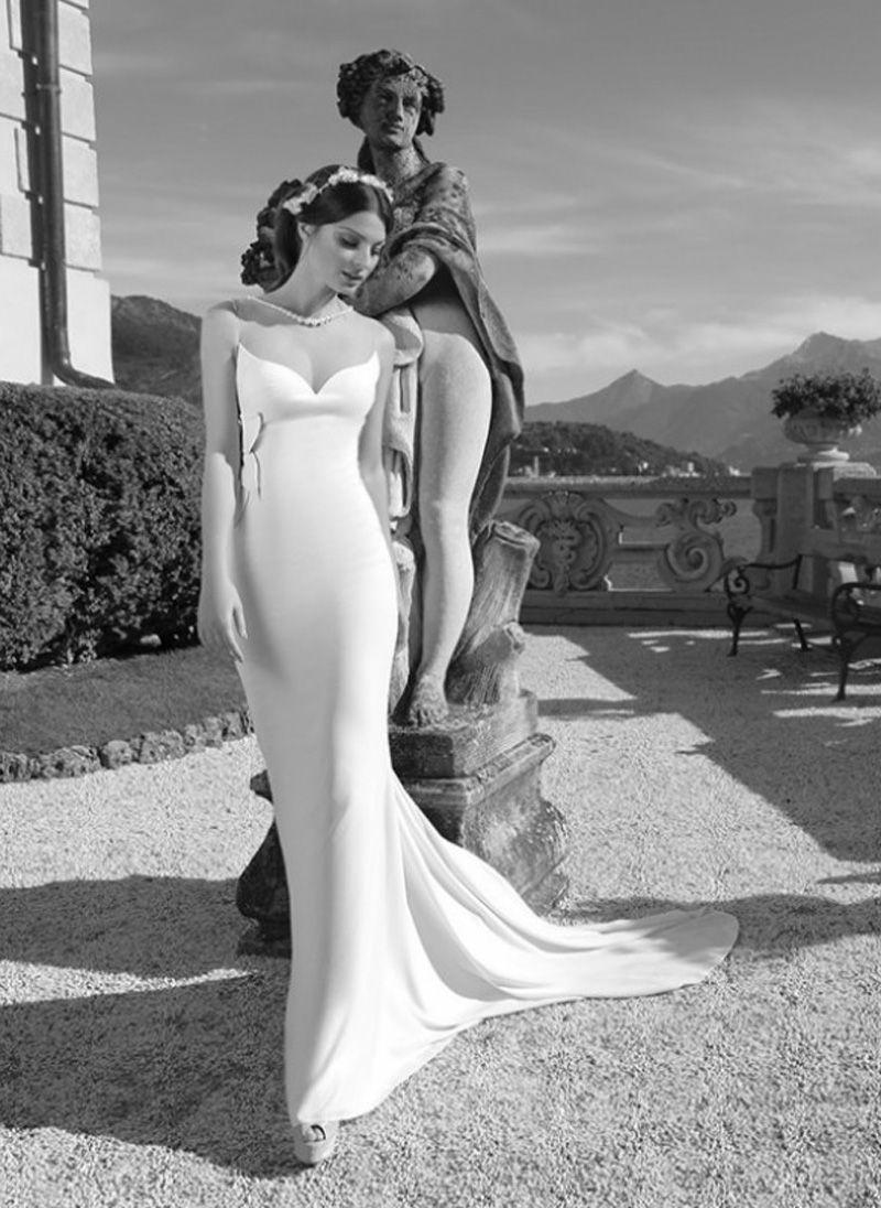 White wedding party bridal evening dresses tarik ediz sheer