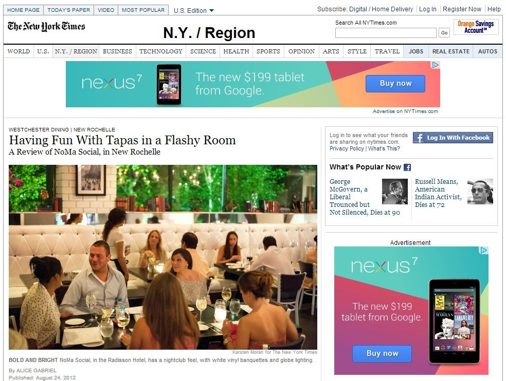 New york times review of noma social travel jobs ny