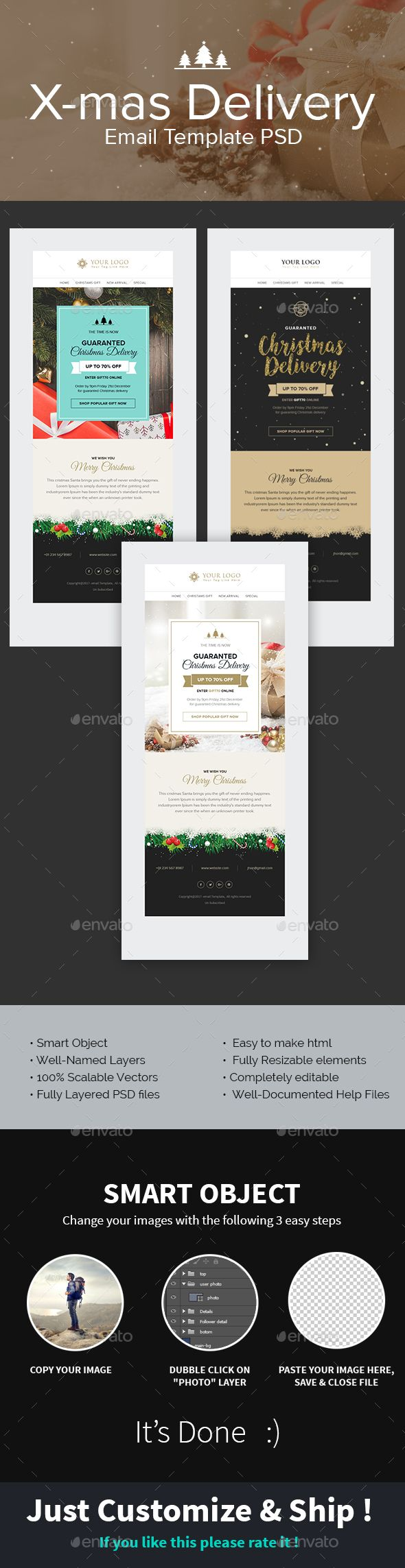 X-mas Delivery - Christmas Delivery Offer Email Template PSD   Fonts ...