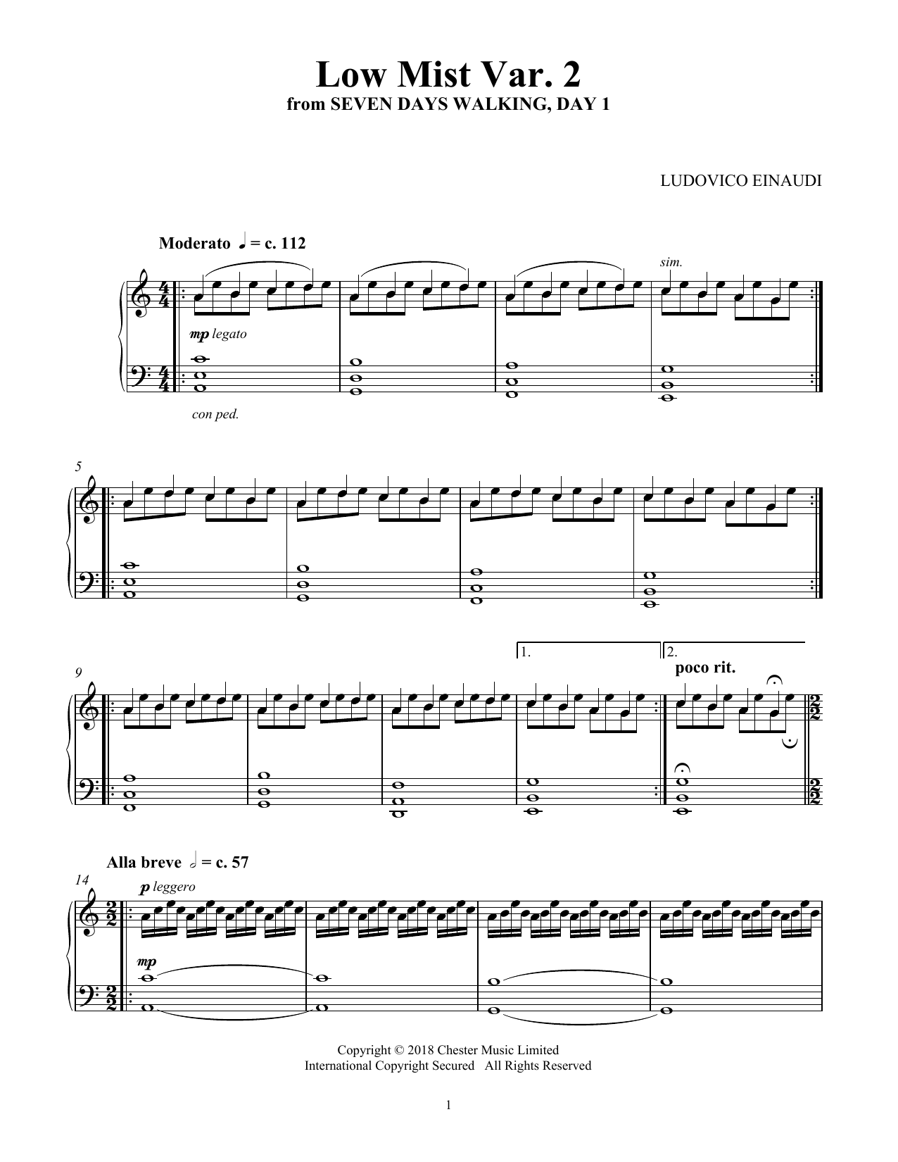 Ludovico Einaudi Low Mist Var 2 From Seven Days Walking Day 1 Music Notes In 2021 Sheet Music Notes Sheet Music Music Notes