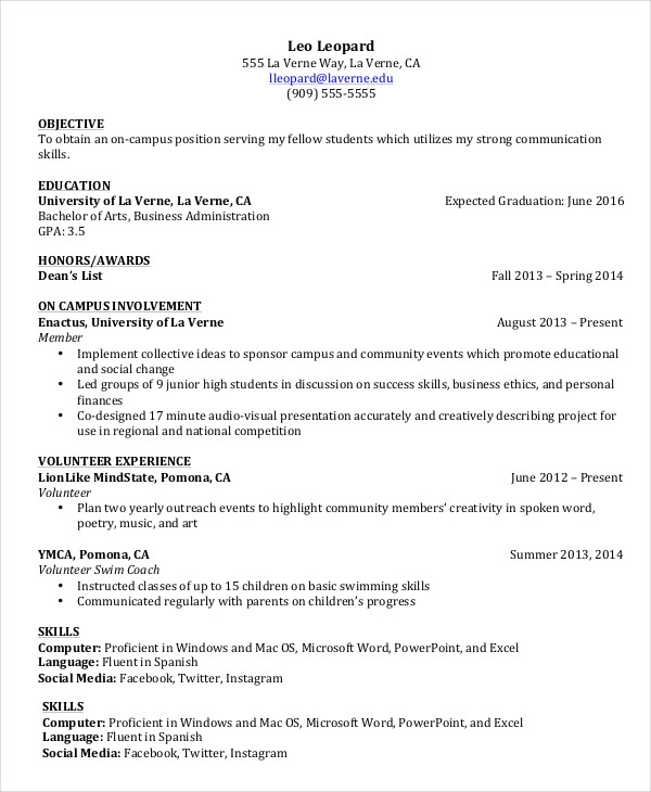 college student resume Google Search Student resume