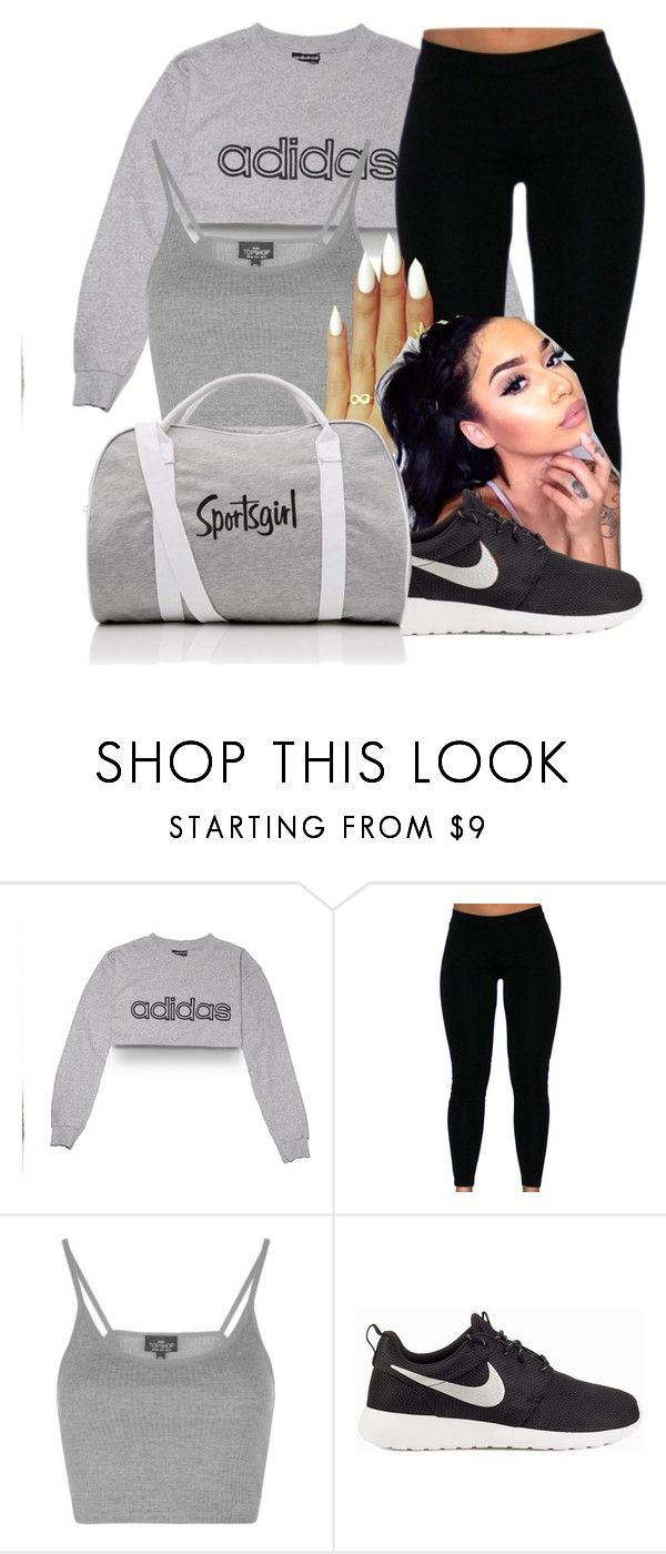 """fixed"" by jtia ❤ liked on Polyvore featuring adidas, Topshop and NIKE"
