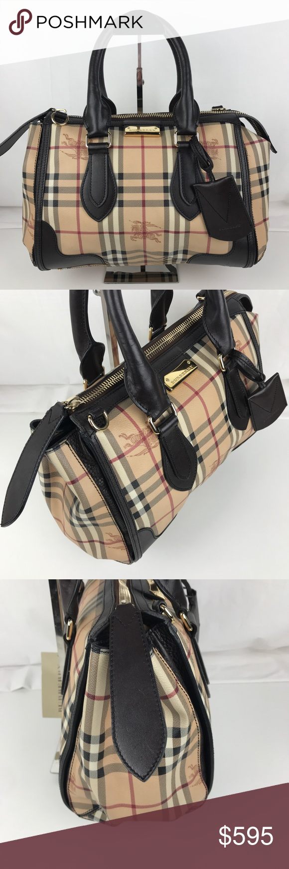 19a8cad124d2 Burberry Plaid Gladstone Chocolate Tote 3870759 Authentic Burberry Style  3870759. Gently used with Tag