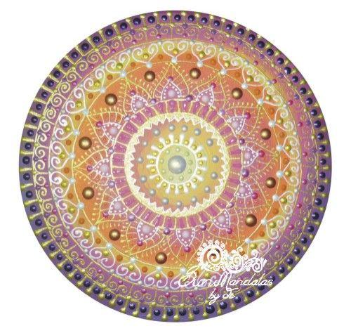 lila-narancs-rózsaszín-arany Napmandala / purple-orange-pink-gold Sunmandala by Je