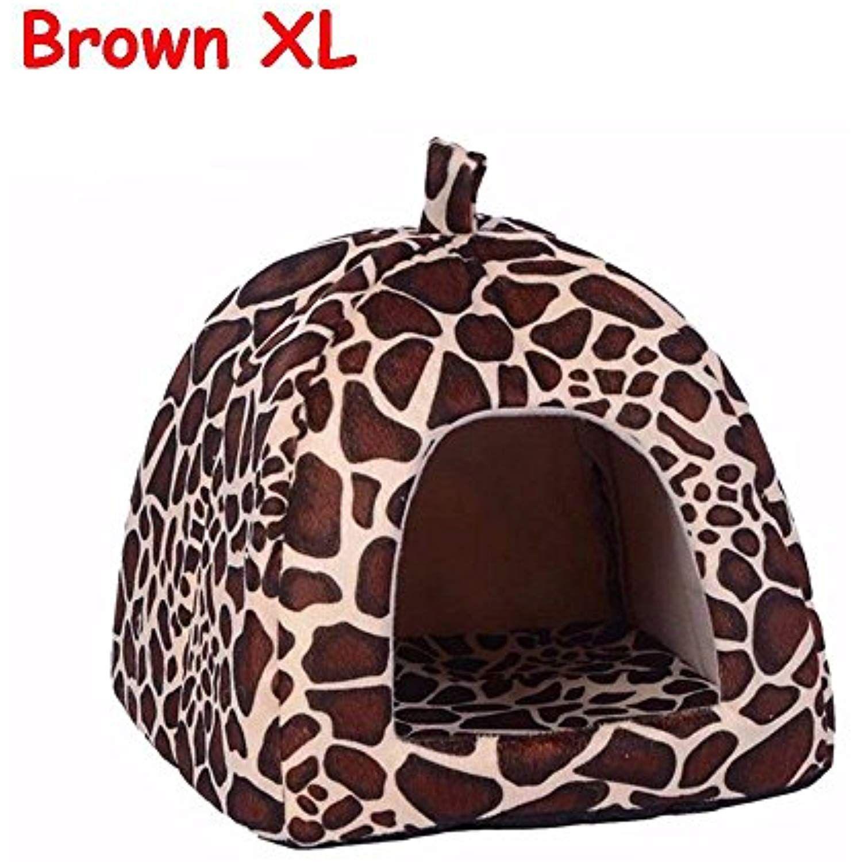 Cloudga New Leopard Print Foldable Cave Tent Dog Cat Bed