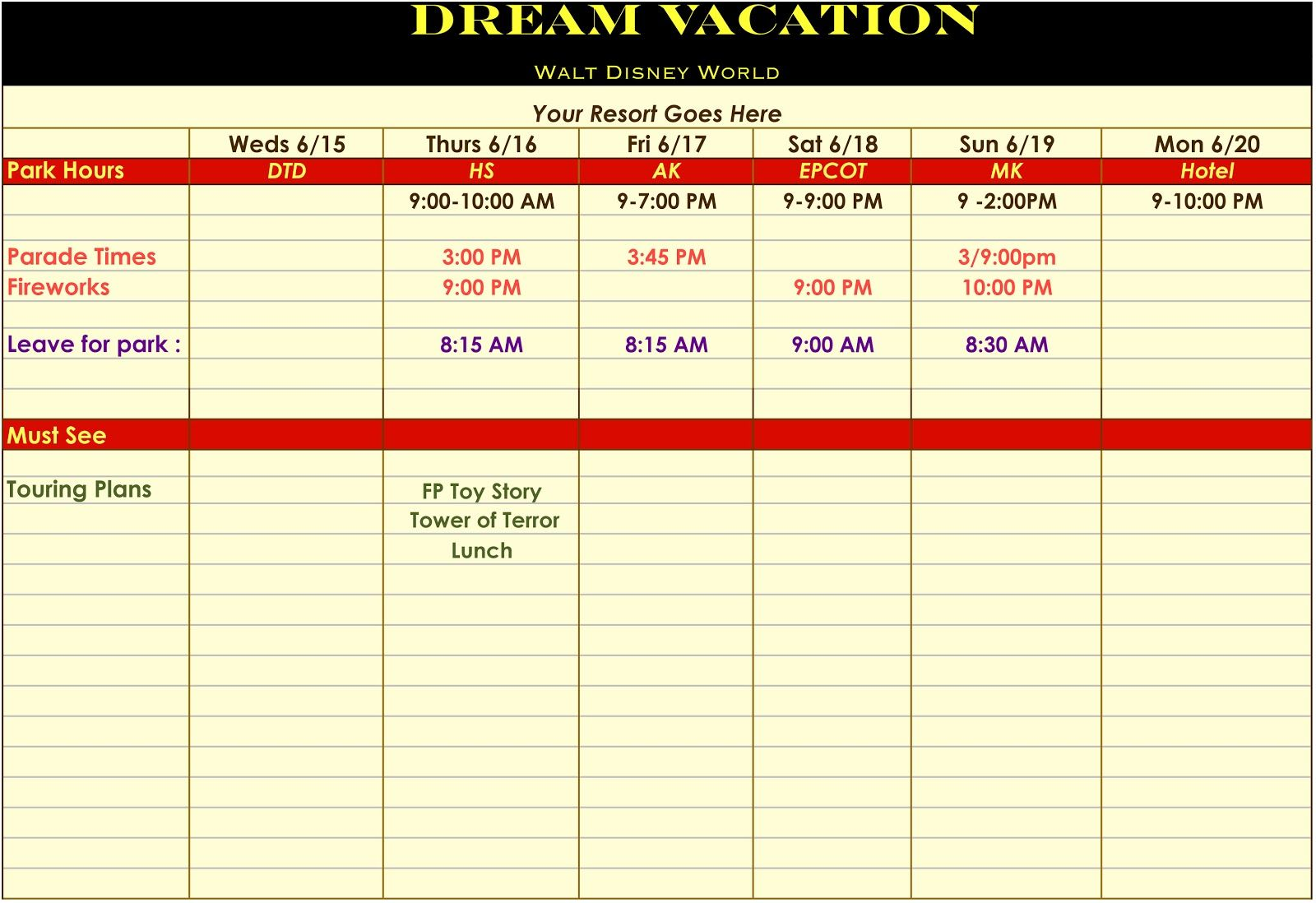 The Mouse Records: Template for a Disney Vacation Itinerary | Disney ...