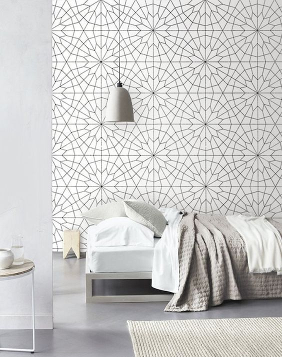 geometric flower wallpaper adds dimension to this bedroom. Black Bedroom Furniture Sets. Home Design Ideas