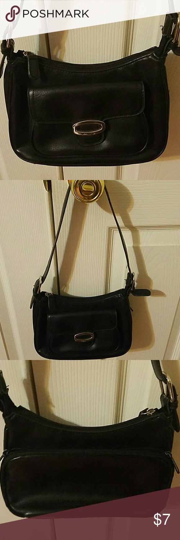 "Vintage Fashion Purse Cute vintage fashion leather purse. Gently used. No rips or tears. Top zip closure. One zip pocket inside. One flap pocket with magnetic clasp closure in front. One zip pocket in the back. Approx 10"" handle drop. Black color with silver hardware. Bags"