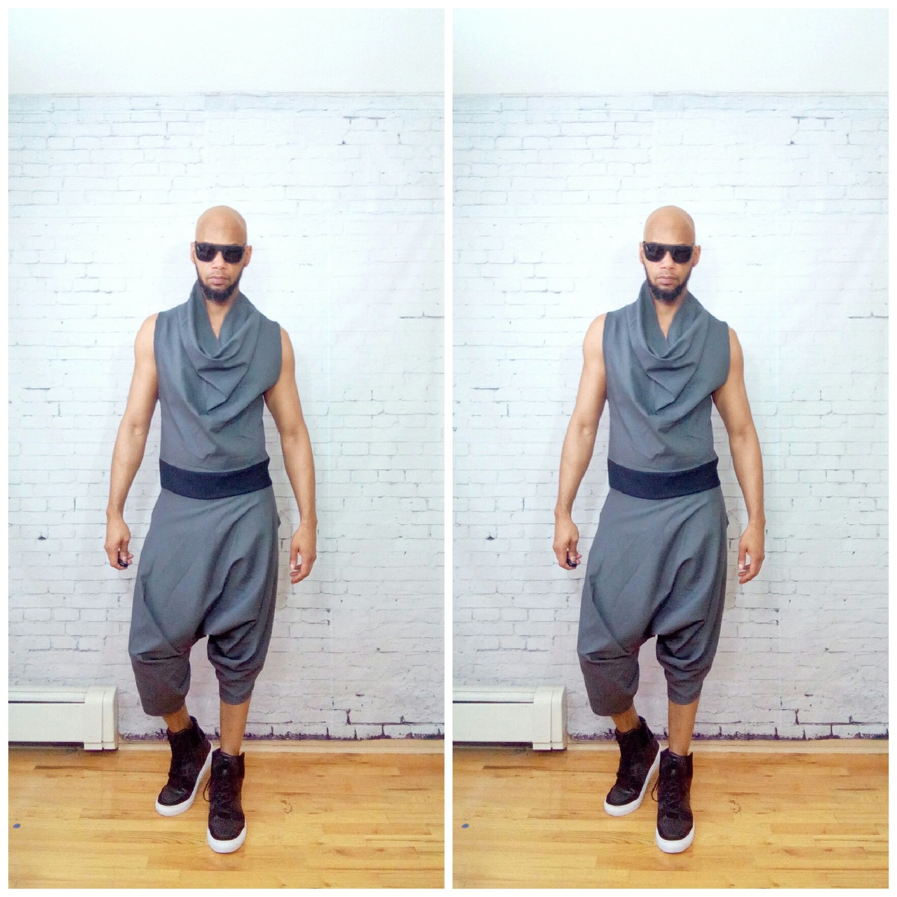 Draped Cowl Neck Harem Pant Woven One piece Sleeveless Back Zip jumpSuit Color - Grey Inspired By- ysl westwood rick owens romper romphim czBX1