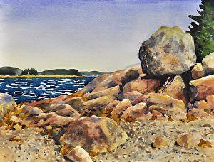 Nub Boulder by Paul Trowbridge Watercolor ~ 18 x 24