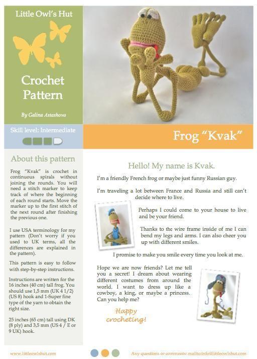 Amigurumi Frog crochet pattern | Crochet | Pinterest | Ranas, Goma ...