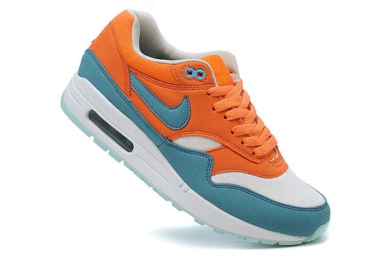 Nike Air Max 1 Chlorine Blue Max Orange White Women s Running Shoes  orange   nikes a3b94fbff