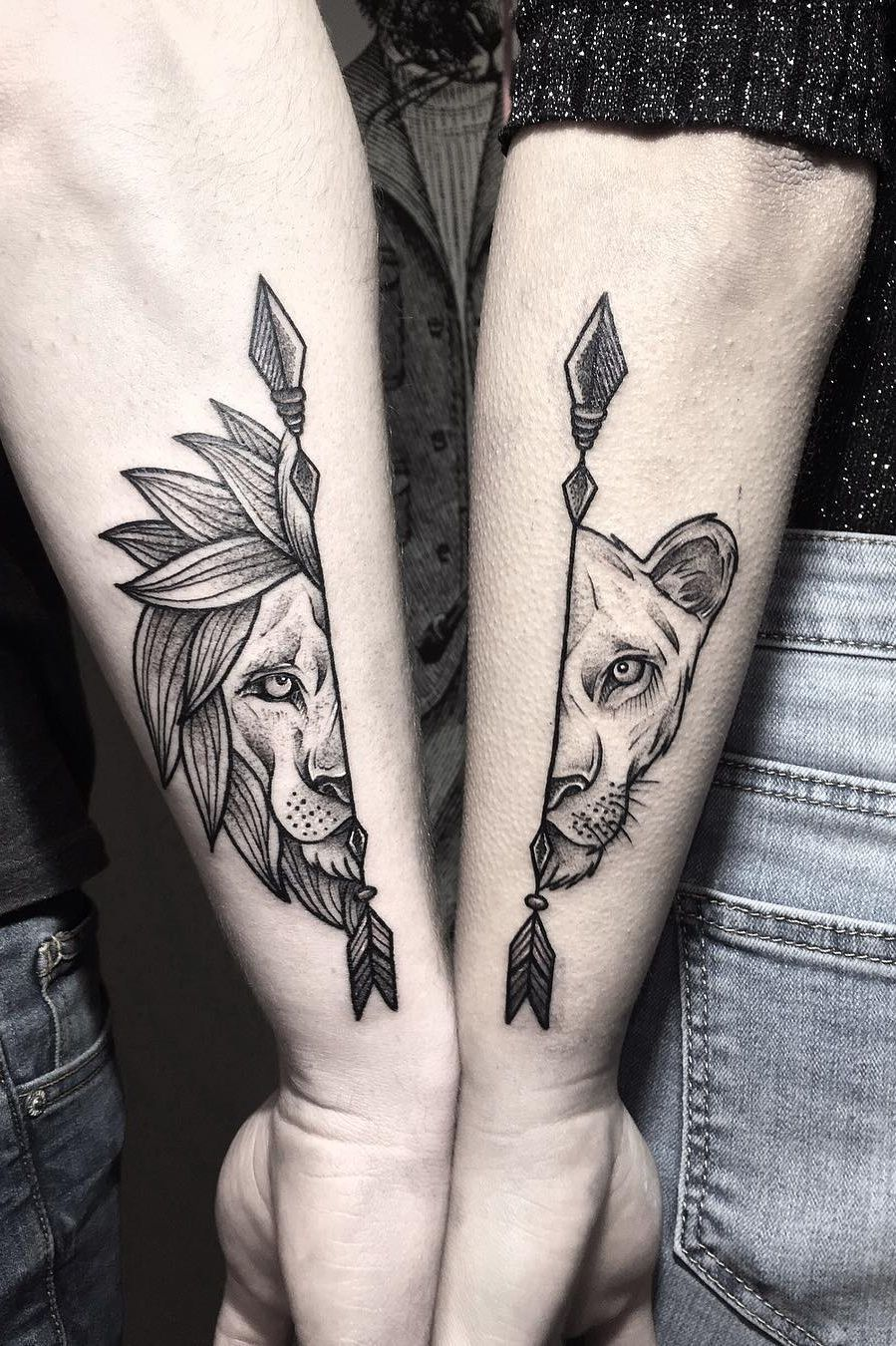 lion & lioness couple tattoo © tattoo artist Rosolino Monti ❤❤❤❤❤❤
