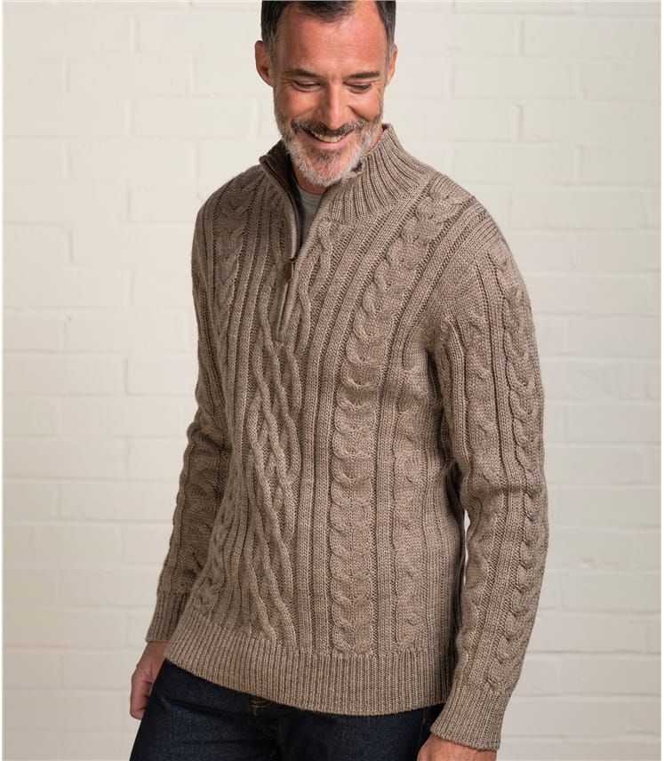2487ab83578 Pepper | Mens Pure Wool Aran Cable Zip Neck Knitted Sweater ...