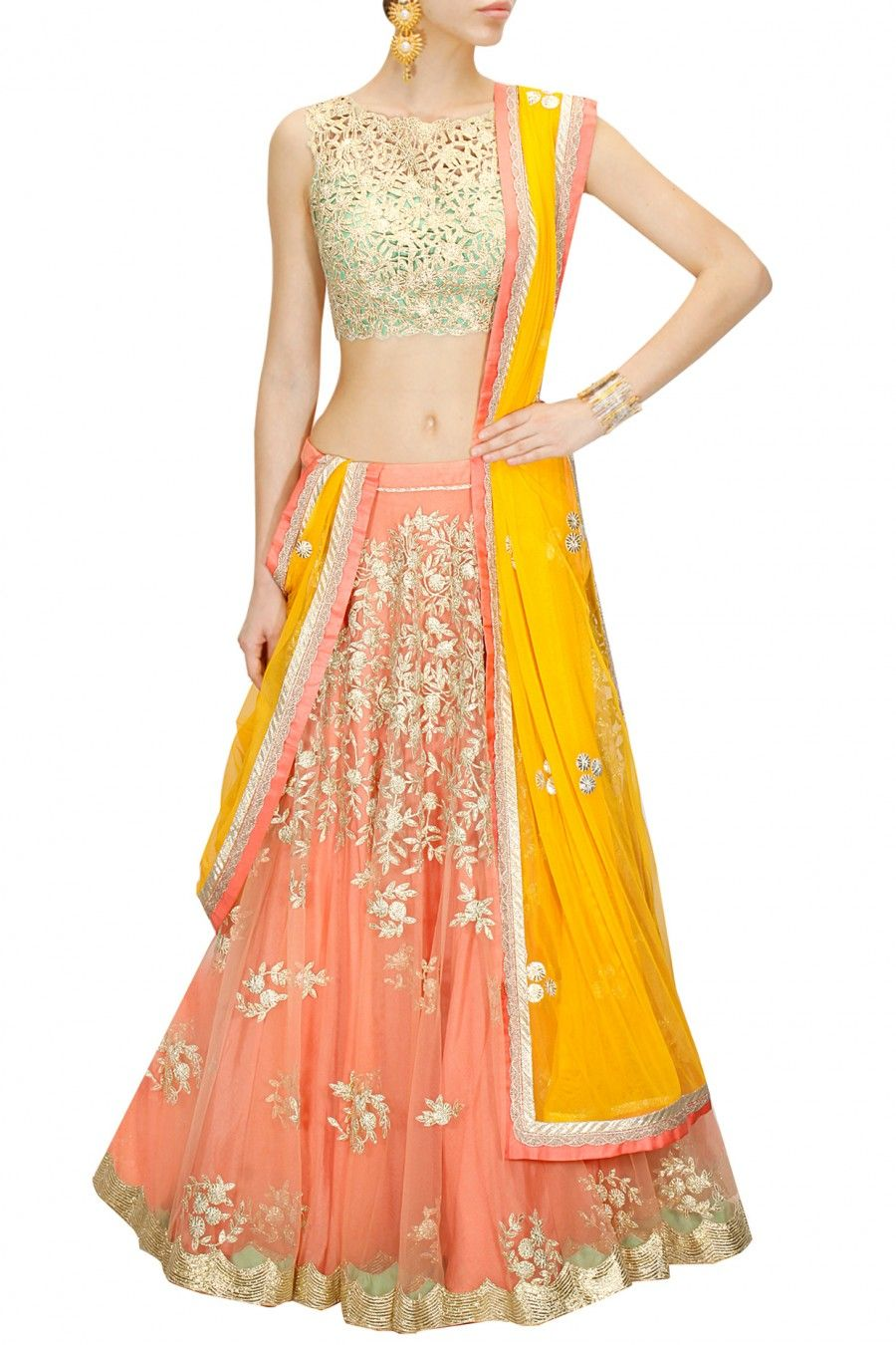 363ab8a0d96e75 Peach embroidered lehenga with mint green cutwork blouse and yellow dupatta  available only at Pernia s Pop-Up Shop.