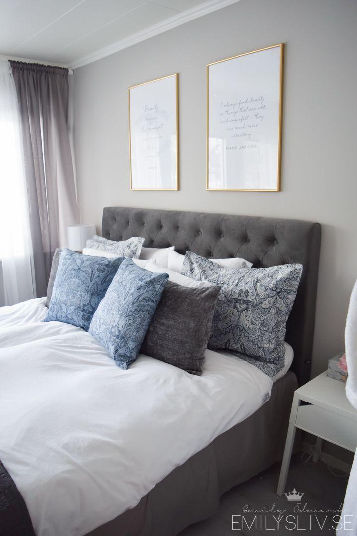 Grå sammet sänggavel interior Pinterest Sänggavel, Grå och Sovrum