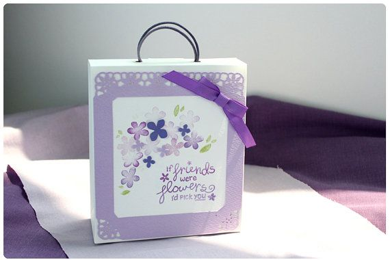 Gift bag Purple flower by SunnyJuneCreations on Etsy