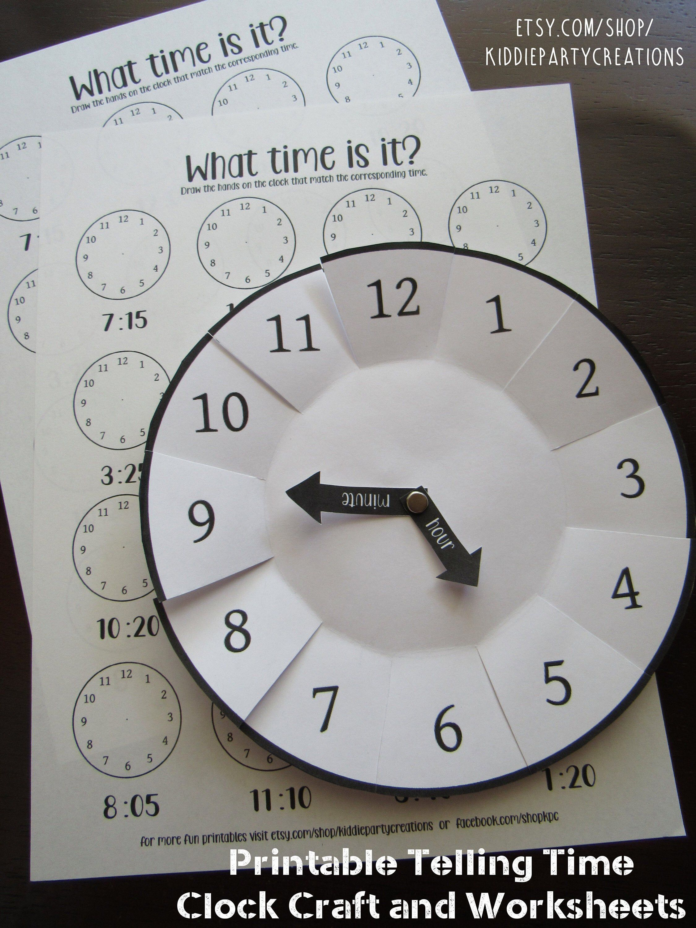 Learning To Tell Time Craft Printable Diy Preschool