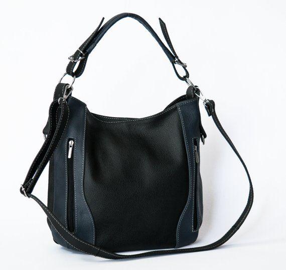b95c6de26fb8 Black Navy LEATHER HOBO Bag - SHOULDER Bag - Crossbody Purse for Woman - Everyday  Leather Handbag