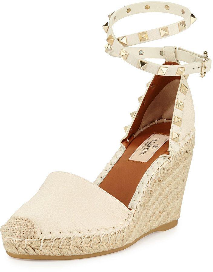 c0d1c1ddea4 Valentino Rockstud Espadrille Wedge Sandal