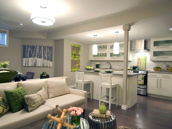 Una tendenza che negli ultimi anni è divenuta per molti necessità, è quella di arredare il proprio appartamento inserendo cucina e soggiorno open space nella stessa stanza. Open Space Kitchen Design Small Finished Basement Designs Apartment Kitchen
