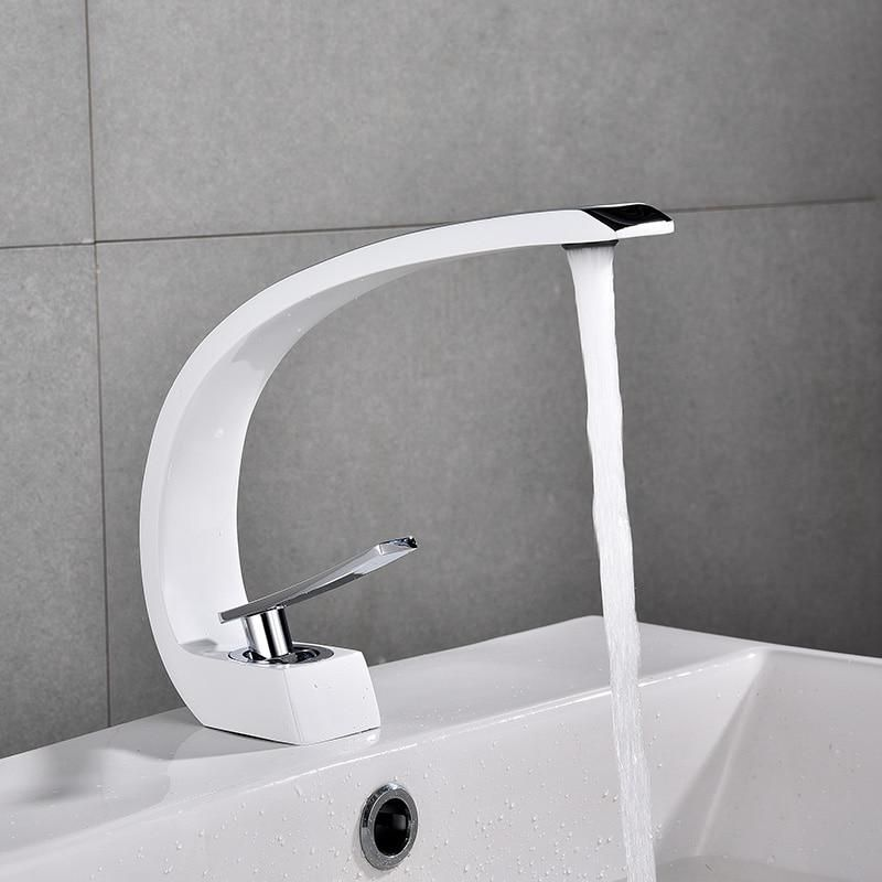 Basin Faucets Modern Bathroom Sink Mixer Tap Brass Washbasin
