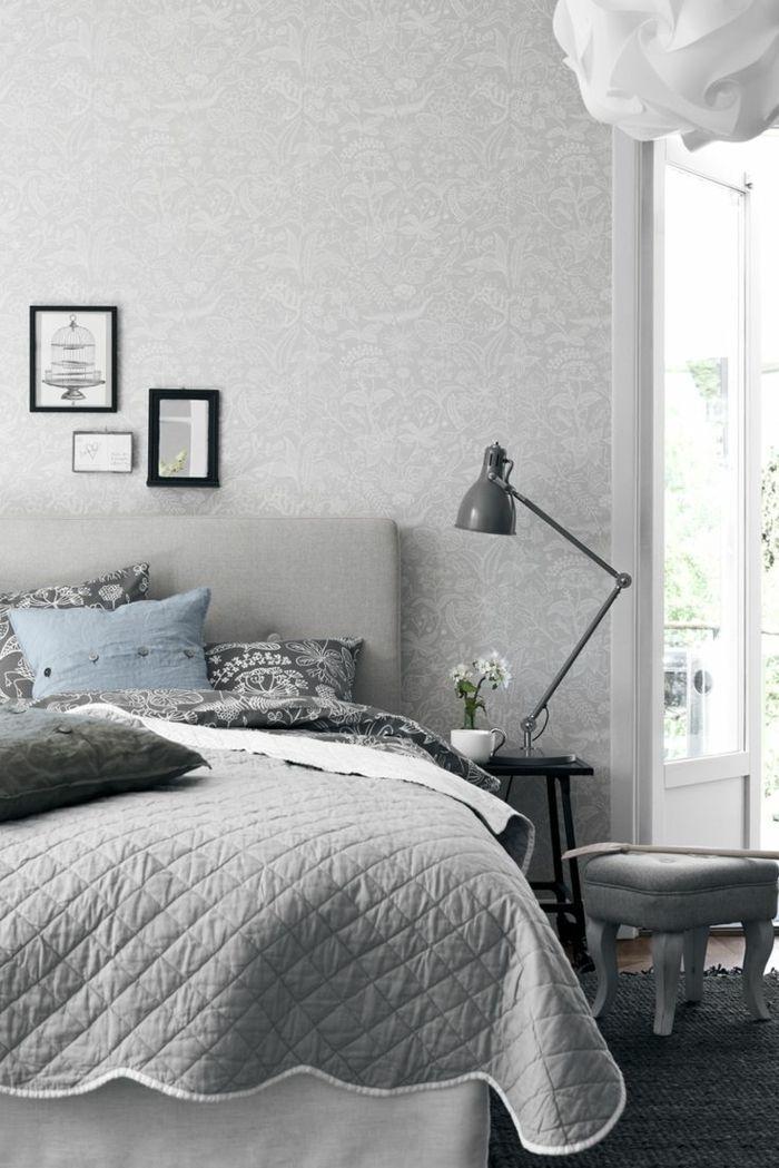 wohnideen wnde streichen grau wei schlafzimmer farbwirkung, Schlafzimmer