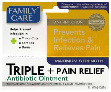 Family Care Triple Antibiotic Ointment Plus Pain Relief 0 5