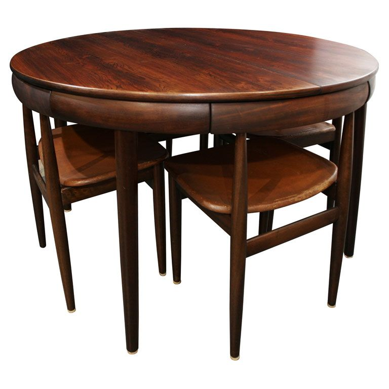 Rosewood Dining Table With Nested Chairs By Hans Olsen 1stdibs