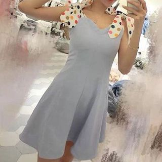 Katie Bloom - Dotted Bow Sleeveless Dress