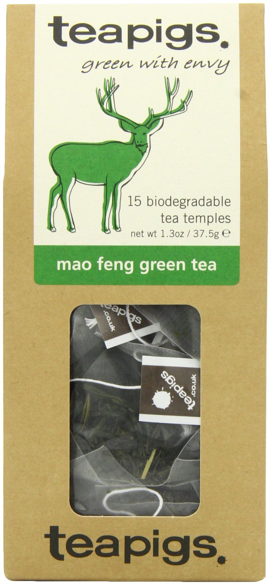 Teapigs Mao Feng Green Tea - Made of Whole Leaf Only - 15 Teabags (Pack of 2)