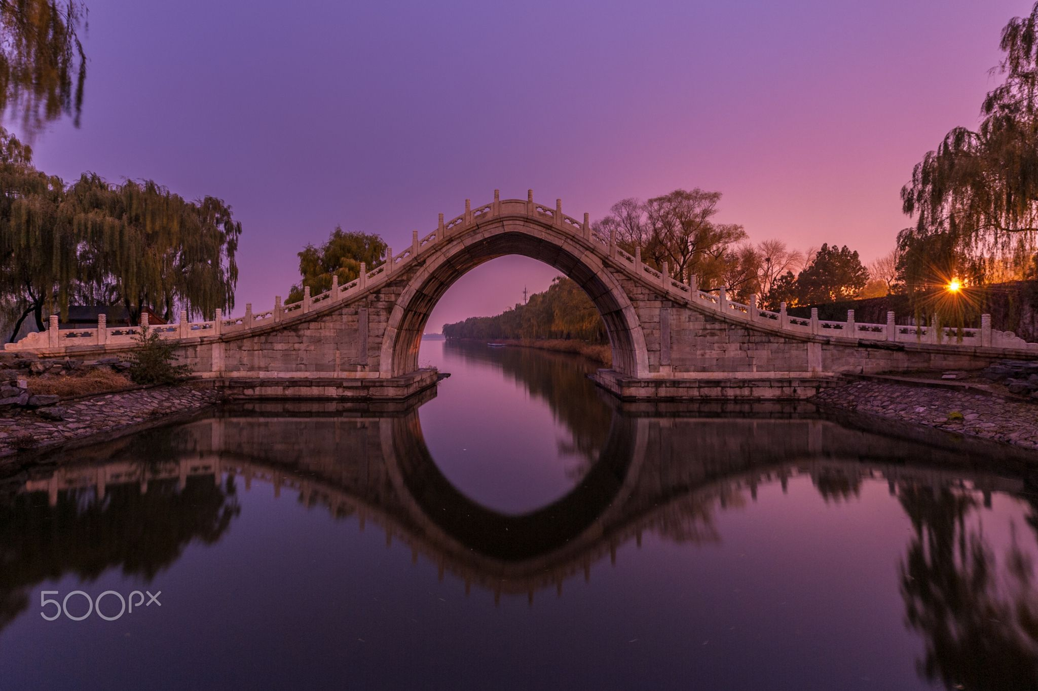 An ancient bridge in an imperial park, Beijing - null