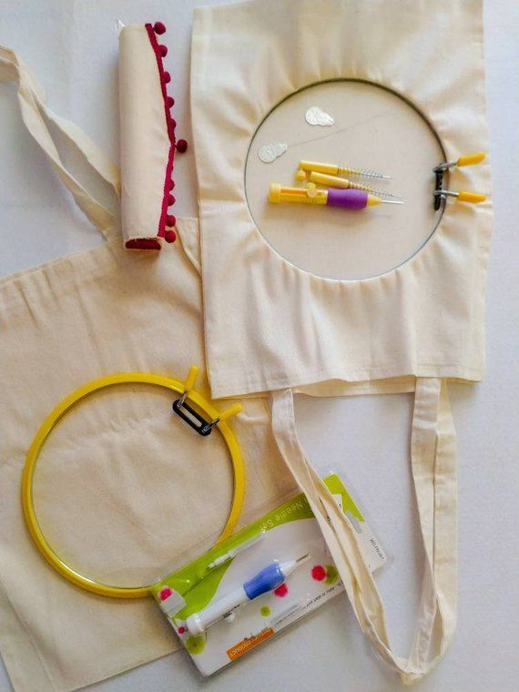 Make your own tote bag Punch needle embroidery kit Punch diy kit Starter kit Punch needle Make your own tote bag Punch needle embroidery kit Punch diy kit Starter kit Pun...