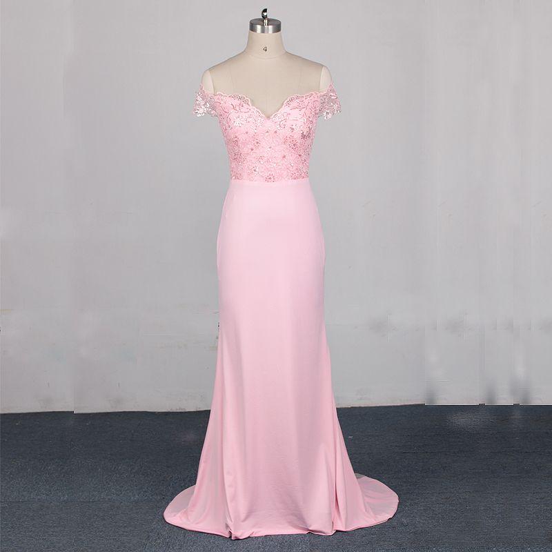 Vestidos 2017 de la playa de dama de honor rosa stain encaje sirena ...