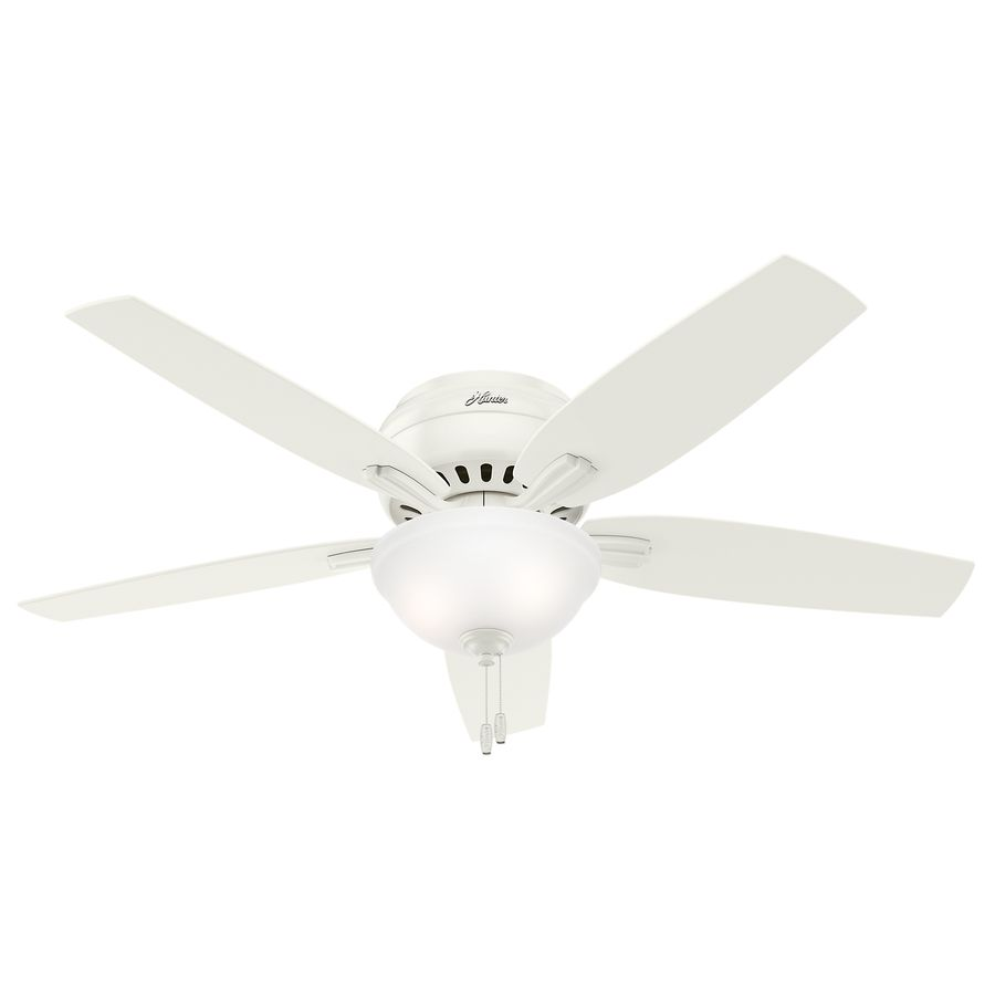 Hunter newsome 52 in fresh white flush mount indoor residential hunter newsome 52 in fresh white flush mount indoor residential ceiling fan with light kit aloadofball Image collections