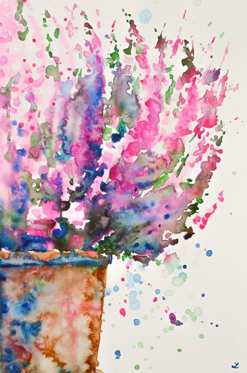 Pink Heather In The Pot Floral Watercolor Flower Art
